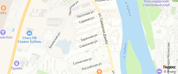 Заречная улица на карте садового некоммерческого товарищества Зори Кубани с номерами домов