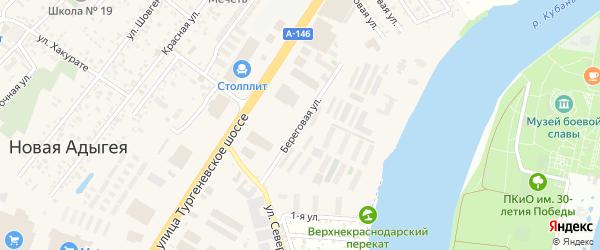 Береговая улица на карте аула Новой Адыгеи с номерами домов