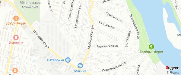 Майкопская улица на карте Яблоновского поселка с номерами домов