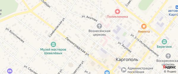 Улица Победы на карте Каргополя с номерами домов