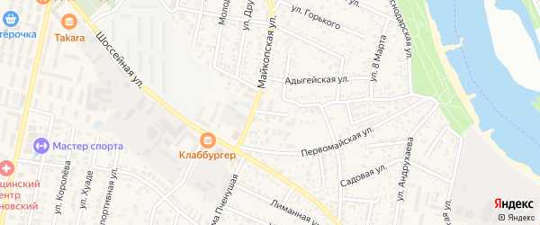 Первомайский 2-й переулок на карте Яблоновского поселка с номерами домов