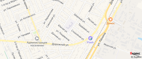 Спокойная улица на карте Яблоновского поселка с номерами домов