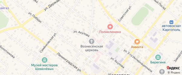 Улица Акулова на карте Каргополя с номерами домов