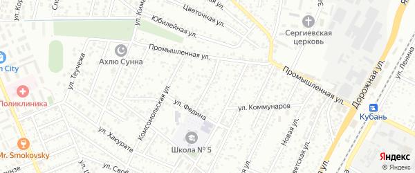 Пионерская улица на карте Яблоновского поселка с номерами домов