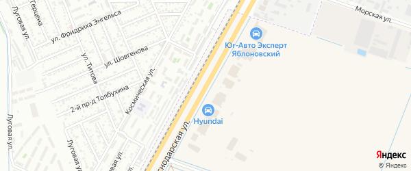 Краснодарская улица на карте аула Тахтамукая с номерами домов