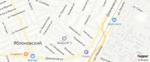 Широкая улица на карте Яблоновского поселка с номерами домов