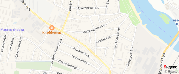 Тупиковый переулок на карте Яблоновского поселка с номерами домов