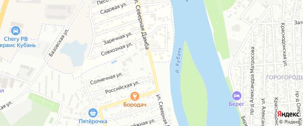 Улица Северная дамба на карте аула Новой Адыгеи с номерами домов