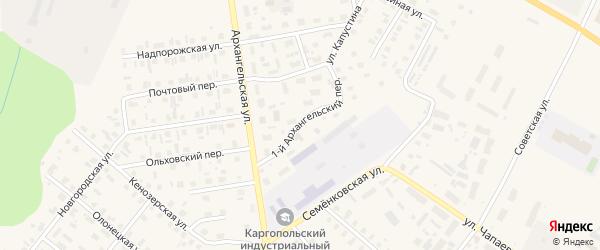 1-й Архангельский переулок на карте Каргополя с номерами домов
