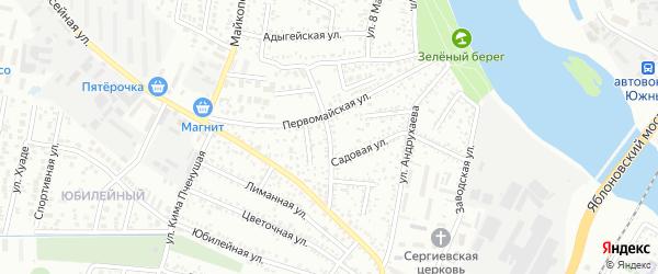 Первомайский переулок на карте Яблоновского поселка с номерами домов