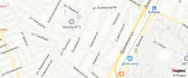 Красная улица на карте Яблоновского поселка с номерами домов