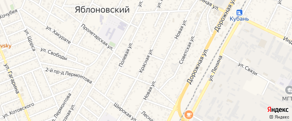 Красная улица на карте аула Тахтамукая с номерами домов