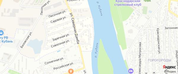 Яблоневая улица на карте садового некоммерческого товарищества Зори Кубани с номерами домов