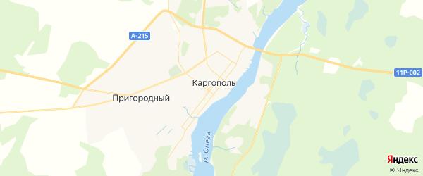 Карта Каргополя с районами, улицами и номерами домов: Каргополь на карте России