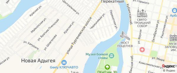 Карта садового некоммерческого товарищества Звездочки в Адыгее с улицами и номерами домов