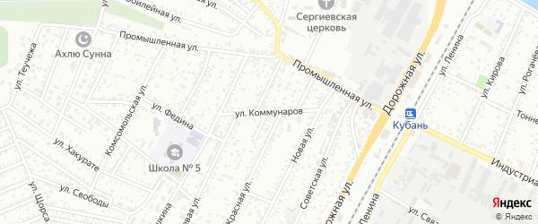 Улица Коммунаров на карте Яблоновского поселка с номерами домов