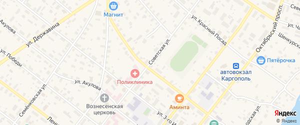Советская улица на карте Каргополя с номерами домов