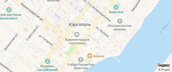 Октябрьский проспект на карте Каргополя с номерами домов