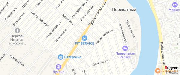 Персиковая улица на карте садового некоммерческого товарищества Кубани с номерами домов