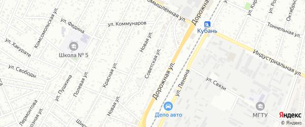 Советская улица на карте Яблоновского поселка с номерами домов