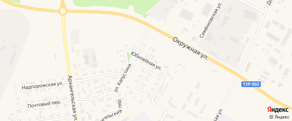 Юбилейная улица на карте Каргополя с номерами домов