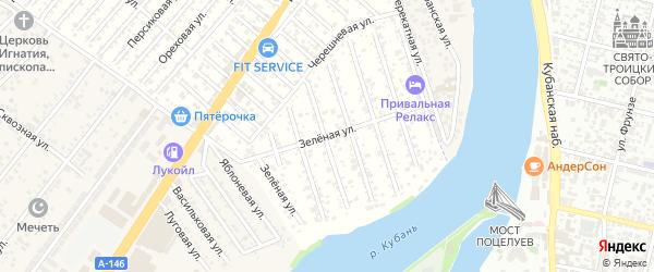 Зеленая улица на карте садового некоммерческого товарищества Водхозовца с номерами домов