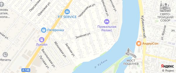 Розовая улица на карте садового некоммерческого товарищества Водхозовца с номерами домов
