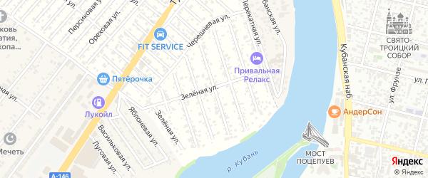 Сиреневая улица на карте садового некоммерческого товарищества Закубанские сады 2 с номерами домов