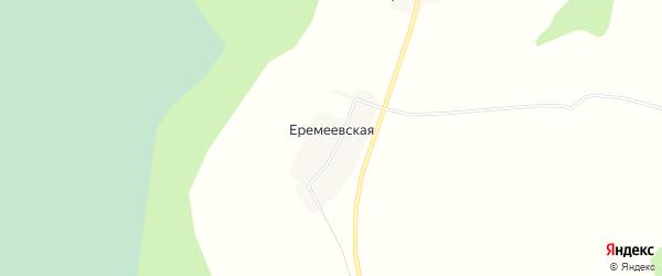 Карта Еремеевской деревни в Архангельской области с улицами и номерами домов