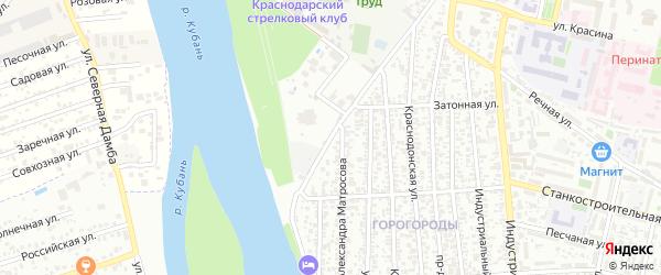 Береговая улица на карте садового некоммерческого товарищества Берега Кубани с номерами домов