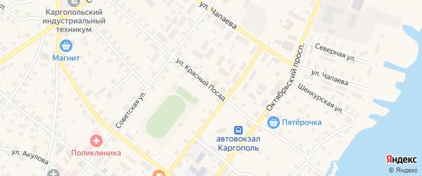 Улица Красный Посад на карте Каргополя с номерами домов