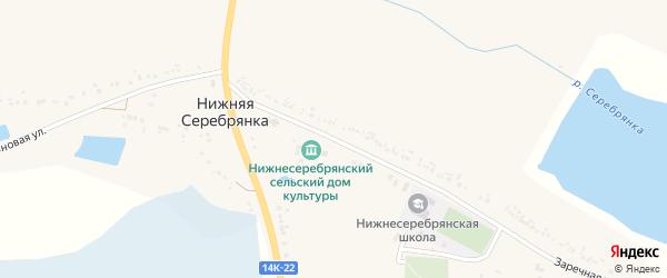 Заречная улица на карте села Нижней Серебрянки с номерами домов