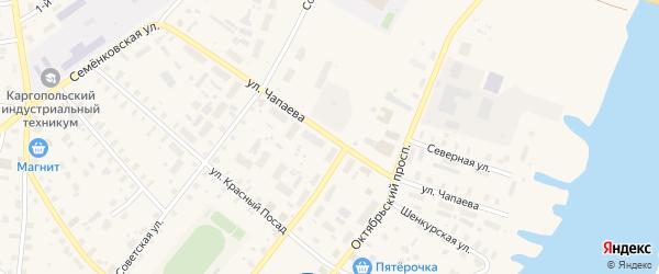 Улица Чапаева на карте Каргополя с номерами домов