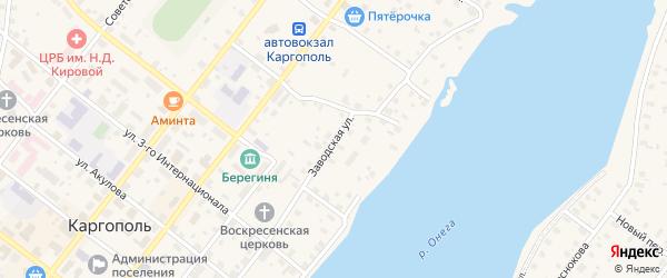 Заводская улица на карте Каргополя с номерами домов