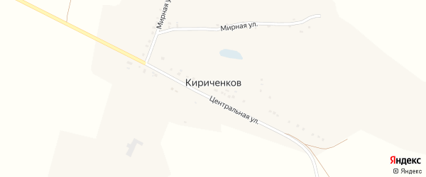 Мирная улица на карте хутора Кириченкова с номерами домов