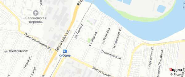 Улица Кирова на карте Яблоновского поселка с номерами домов