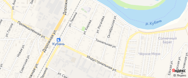 Тоннельная улица на карте Яблоновского поселка с номерами домов