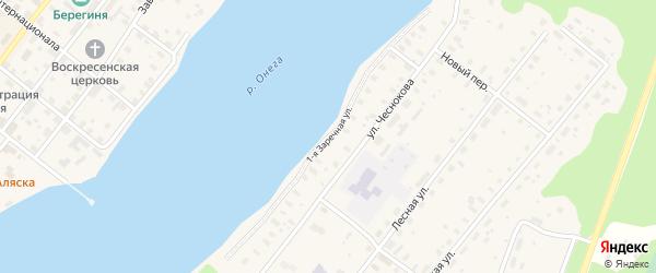 1-я Заречная улица на карте Каргополя с номерами домов