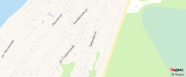 Таежная улица на карте Каргополя с номерами домов