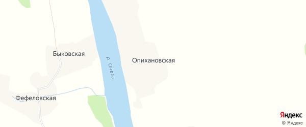 Карта Опихановской деревни в Архангельской области с улицами и номерами домов