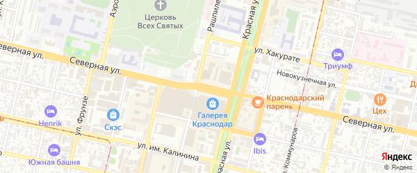 Северная улица на карте садового некоммерческого товарищества Рассвета (рыбсовхоза) с номерами домов