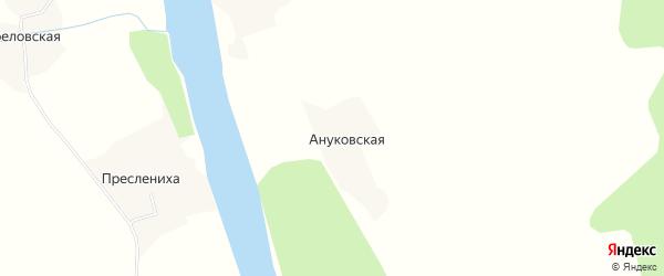 Карта Ануковской деревни в Архангельской области с улицами и номерами домов
