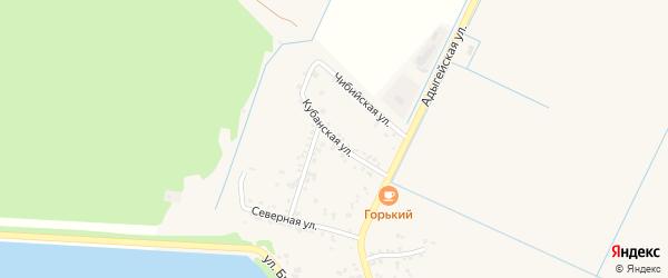 Кубанская улица на карте аула Тахтамукая с номерами домов
