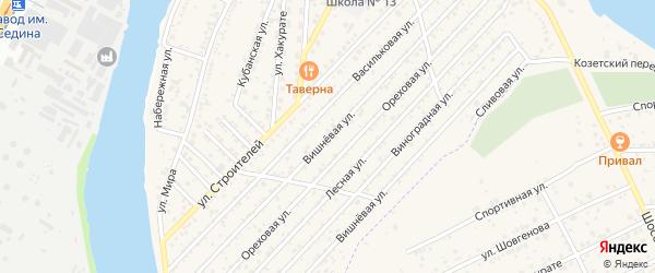 Вишневая улица на карте садового некоммерческого товарищества Кубани с номерами домов
