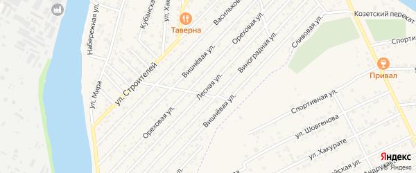 Лесная улица на карте садового некоммерческого товарищества Рассвета (рыбсовхоза) с номерами домов