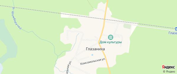 Карта поселка Глазанихи в Архангельской области с улицами и номерами домов
