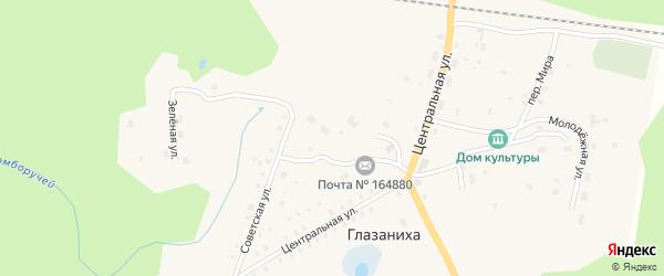 Центральная улица на карте поселка Глазанихи с номерами домов