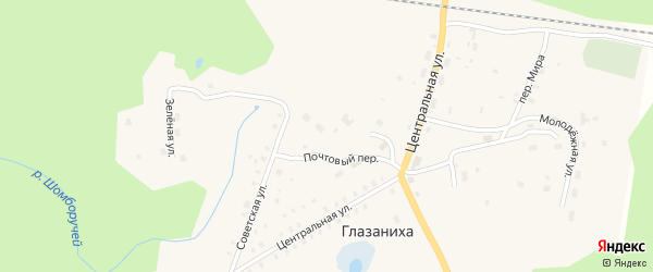 Зеленая улица на карте поселка Глазанихи с номерами домов