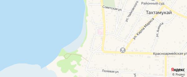 Береговая улица на карте аула Тахтамукая с номерами домов