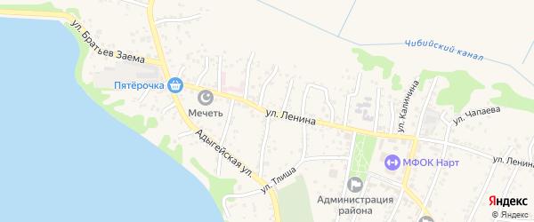 Октябрьская улица на карте аула Тахтамукая с номерами домов